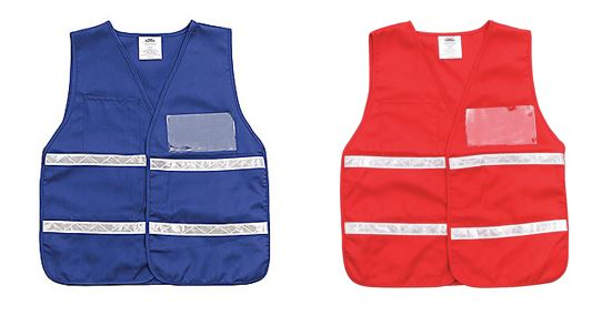 Blue vest and red vest